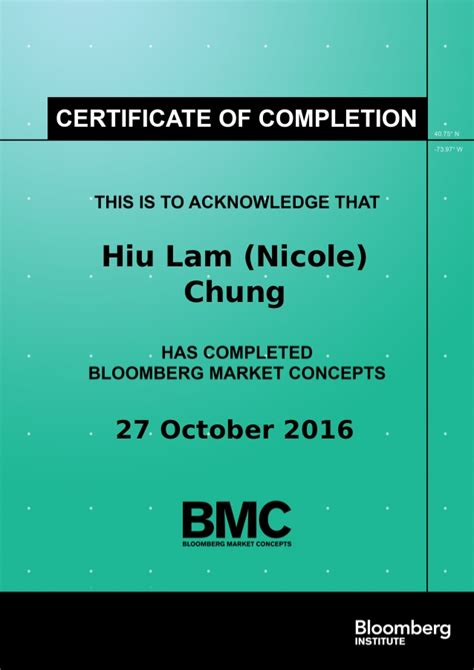 Bloomberg BMC Certificate of Completion