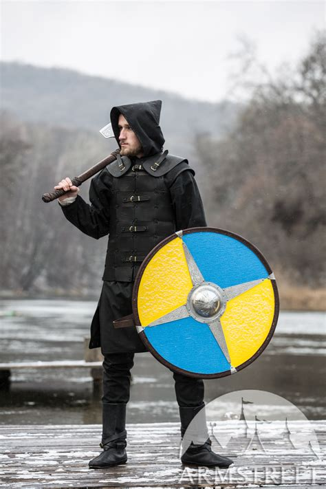 Painted Viking Shield with Etched Accents for sale