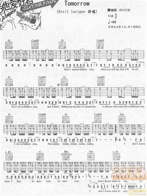 Tomorrow by Avril Lavigne Guitar Tabs Chords Sheet Music