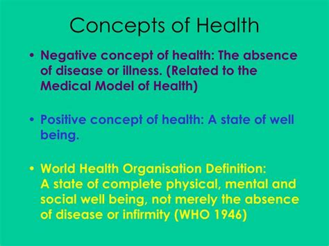 PPT - Concepts of Ill Health PowerPoint Presentation - ID