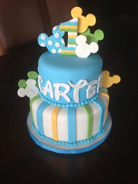 Baby Mickey 1St Birthday Cake - CakeCentral