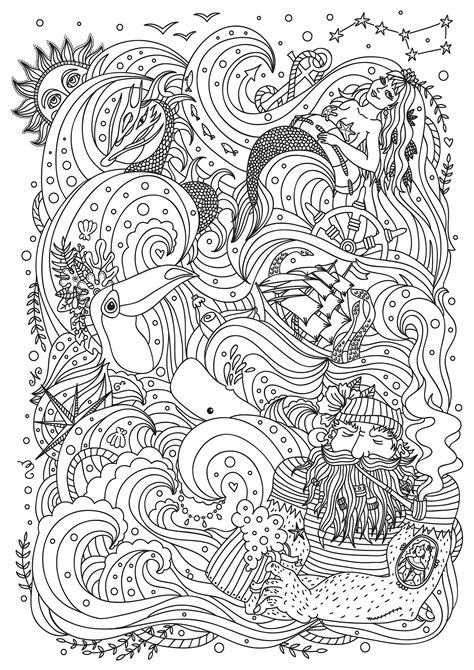 Mermaid sailor bird and boat - Mermaids Adult Coloring Pages