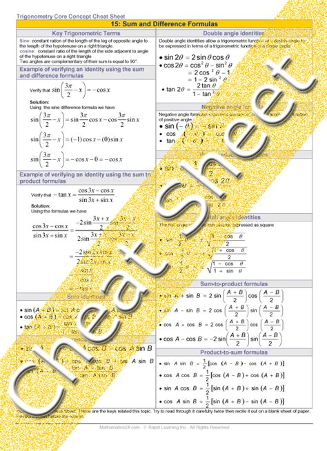 Trigonometry - Sum, Difference and other Trig Formulas
