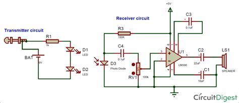 IR based Wireless Audio Transmitter and Receiver Circuit