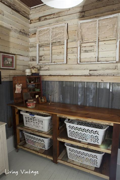 reclaimed siding and tin on the walls and reclaimed wood