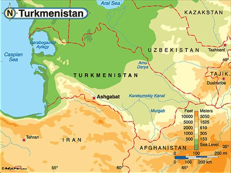 Turkmenistan Physical Map by Maps
