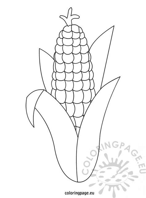 Thanksgiving – Corn Template – Coloring Page