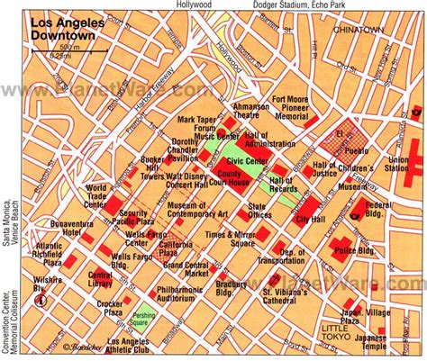 Los Angeles- Downtown Map - Tourist Attractions | Los