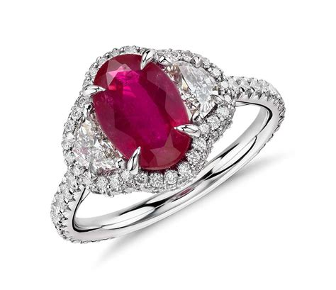 Ruby and Half-Moon Diamond Halo Ring in Platinum and 18k