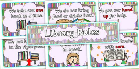 Library Rules Display Poster Pack (teacher made)