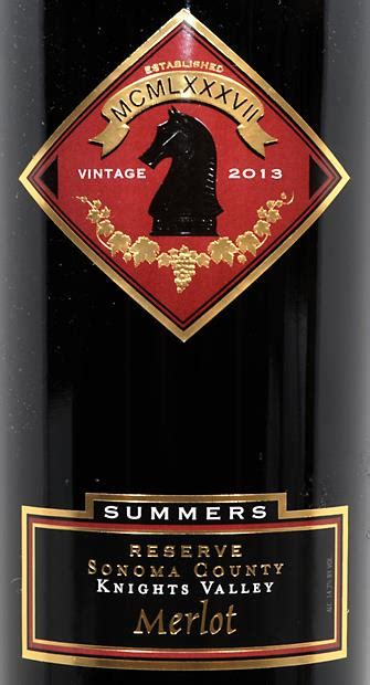2013 Summers Winery Merlot Reserve Summers Ranch, USA