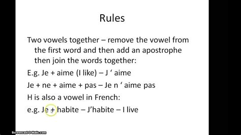 French use of the apostrophe for two vowels together - YouTube