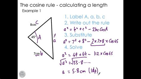 Using the Cosine Rule to find a length - YouTube