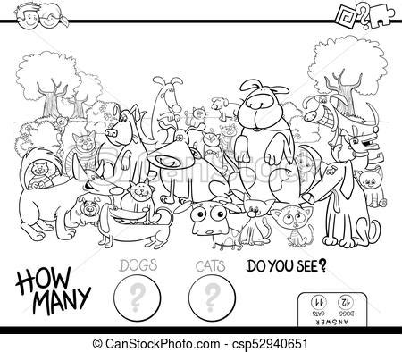 Counting cats and dogs coloring book